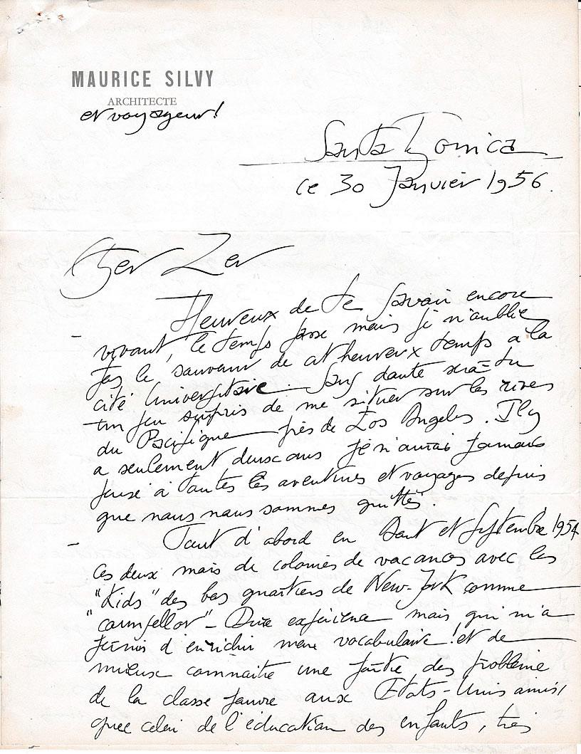 Lettre de M. Silvy, architecte (30 janvier 1956 - page-1)